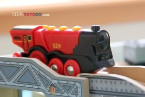 Side of Brio mighty red locomotive