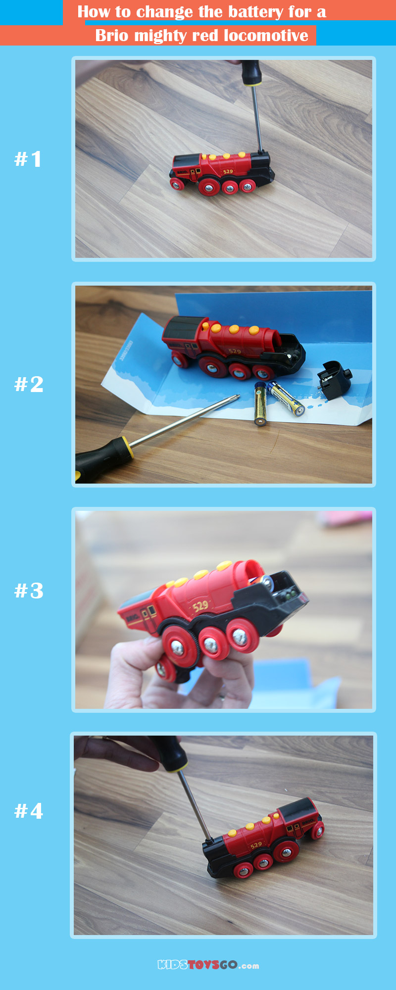 Steps for changing the battery on Brio mighty red locomotive