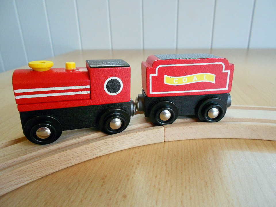 Caring wooden train
