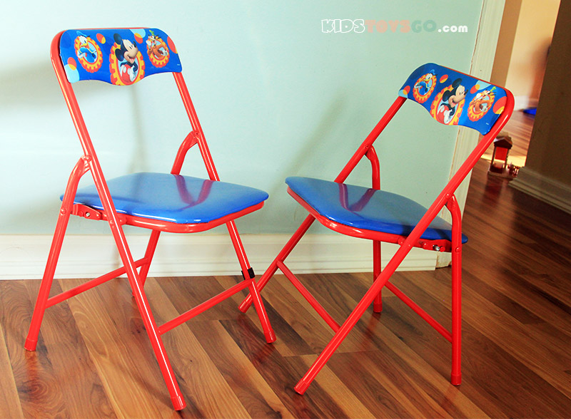 Two chairs on Mickey Mouse table set